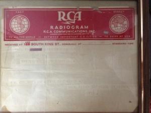 Radiogram - December 8, 1941