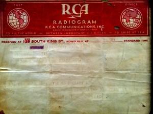 Radiogram December 8, 1941